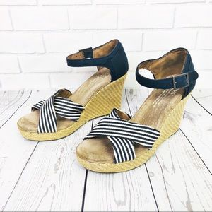 Tom's University Stripe Wedge Sandal